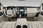 Stock photo of straight dashboard view of a 2014 Ford Expedition Limited EL 5 Door SUV Dashboard