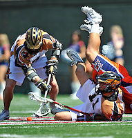 23 August 2008: Rochester Rattlers' Midfielder Pat Dutton (7) tries to maintain possession  against the Philadelphia Barrage during the Semi-Finals of the Major League Lacrosse Championship Weekend at Harvard Stadium in Boston, MA. The Rattlers defeated the Barrage 16-15 in sudden death overtime, advancing to the upcoming Championship Game...Mandatory Photo Credit: Ed Wolfstein Photo