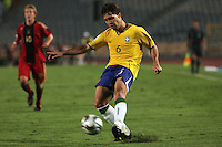 Brazil's Diogo (6) sends the ball toward Germany's goal during the FIFA Under 20 World Cup Quarter-final match at the Cairo International Stadium in Cairo, Egypt, on October 10, 2009. Germany lost 2-1 in overtime play.