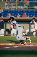 Hudson Valley Renegades Greg Jones (2) hits a triple during a NY-Penn League game against the Mahoning Valley Scrappers on July 15, 2019 at Eastwood Field in Niles, Ohio.  Mahoning Valley defeated Hudson Valley 6-5.  (Mike Janes/Four Seam Images)