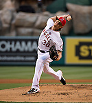 Los Angeles Angel pitcher, Jered Weaver, fires a fastball against the Pittsburgh Pirates.