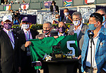November 6, 2020: Connections for Aunt Pearl, winner of the Juvenile Fillies Turf on Breeders' Cup Championship Friday at Keeneland on November 6, 2020: in Lexington, Kentucky. Bill Denver/Breeders' Cup/Eclipse Sportswire/CSM