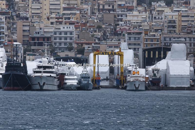 Border Control vessel HMC Valiant (4th L) by a shipyard in the Perama area of Piraeus, Greece. Thursday 03 January 2019