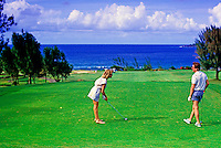 A couple enjoy the beautiful scenery at the lush Kapalua golf course on the island of Maui.