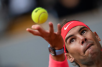 9th October 2020, Roland Garros, Paris, France; French Open tennis, Roland Garr2020;   Rafael NADAL ESP serves during his match against Diego SCHWARTZMAN ARG in the Philippe Chatrier court during the Semifinal of the French Open tennis tournament