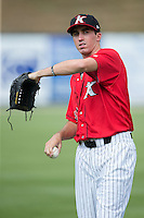 Kannapolis Intimidators starting pitcher Zach Thompson (40) warms up in the outfield prior to the game against the Delmarva Shorebirds at CMC-Northeast Stadium on June 7, 2015 in Kannapolis, North Carolina.  The Shorebirds defeated the Intimidators 9-1.  (Brian Westerholt/Four Seam Images)