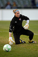 Sky Blue FCgoalkeeper Karen Bardsley (1) warms up before the game. Sky Blue FC and FC Gold Pride played to a 1-1 tie during a Women's Professional Soccer match at TD Bank Ballpark in Bridgewater, NJ, on April 11, 2009.