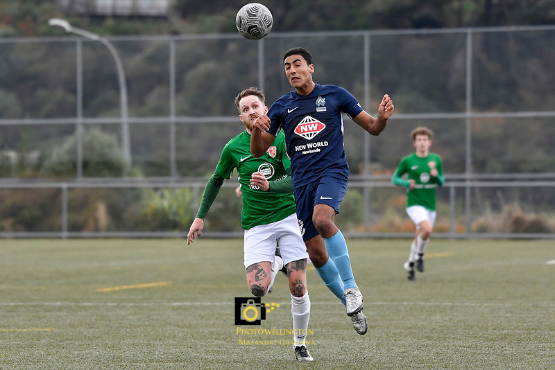 Ahmed Othman of the North Wellington FC competes for the ball with Jared Cunniff of the Wairarapa United during the Central League Football -  North Wellington FC v Wairarapa United at Alex Moore Park ( Alex Moore Artificial), Johnsonville, New Zealand on Saturday 29 May 2021.<br /> Copyright photo: Masanori Udagawa /  www.photosport.nz