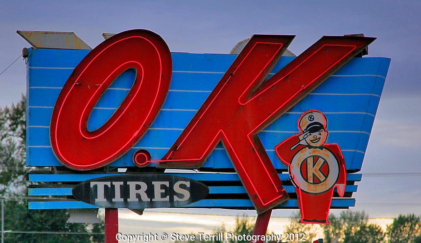 Old OK sign in Salem Oregon