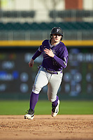 Anthony Fontana (44) of the Furman Paladins hustles towards third base against the Wake Forest Demon Deacons at BB&T BallPark on March 2, 2019 in Charlotte, North Carolina. The Demon Deacons defeated the Paladins 13-7. (Brian Westerholt/Four Seam Images)