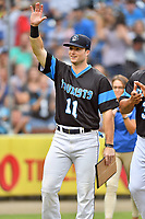 Asheville Tourists designated hitter Casey Golden (11) waves to the crowd after accepting the South Atlantic League Player of the Week award before a game against the Rome Braves at McCormick Field on September 2, 2018 in Asheville, North Carolina. The Braves defeated the Tourists 2-1. (Tony Farlow/Four Seam Images)