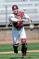 Boston College Eagles catcher Matt Pare #8 prior to a game versus the Miami Hurricanes at Shea Field in Chestnut Hill, Massachusetts on April 26, 2013.  (Ken Babbitt/Four Seam Images)