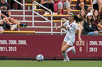NEWTON, MA - AUGUST 29: Sarai Costello #28 of Boston College brings the ball forward during a game between University of Connecticut and Boston College at Newton Campus Soccer Field on August 29, 2021 in Newton, Massachusetts.