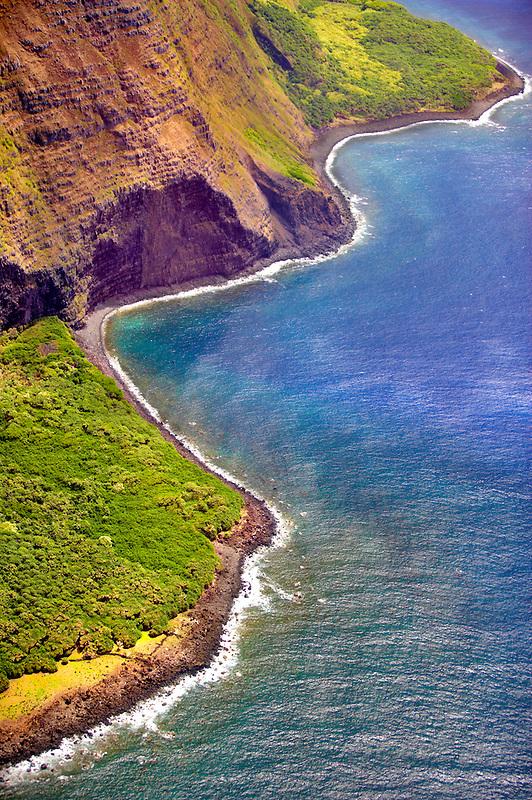 Molokai coastline from the air. Molokai. Hawaii