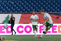 FOXBOROUGH, MA - AUGUST 26: Aaron Walker #8 of Greenville Triumph SC takes a shot during a game between Greenville Triumph SC and New England Revolution II at Gillette Stadium on August 26, 2020 in Foxborough, Massachusetts.