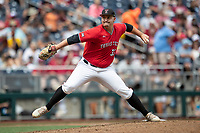 Texas Tech Red Raiders pitcher Dane Haveman (33) delivers a pitch to the plate during Game 5 of the NCAA College World Series against the Arkansas Razorbacks on June 17, 2019 at TD Ameritrade Park in Omaha, Nebraska. Texas Tech defeated Arkansas 5-4. (Andrew Woolley/Four Seam Images)