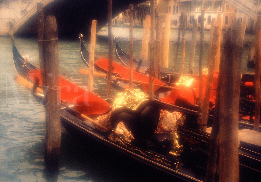 Gondolas on Grand Canal Venice Italy.