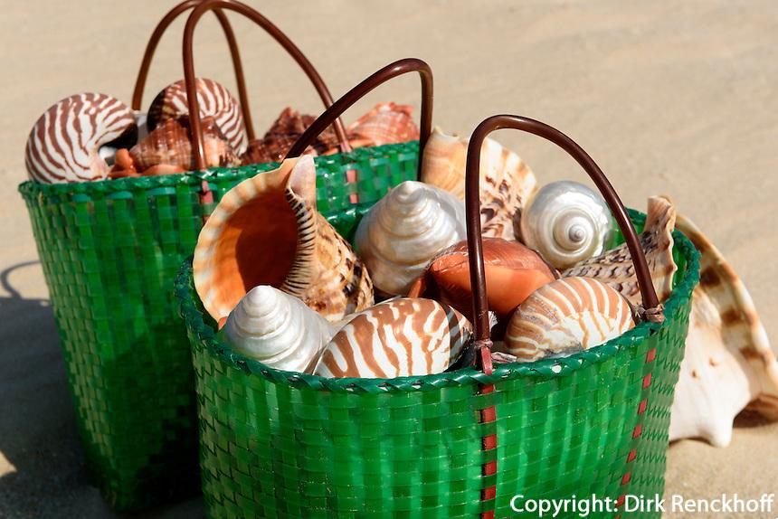 Muschelverkauf am Strand an der Sanya Bay beim Club Med auf der Insel Hainan, China<br /> Shells,  Beach at Sanya Bay near Club Med  Hainan island, China