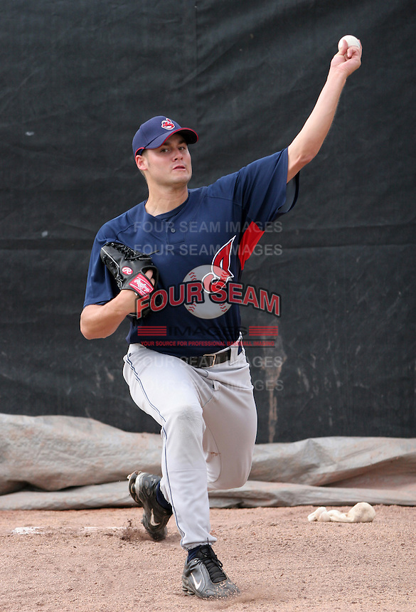 Cleveland Indians minor leaguer Chuck Lofgren during Spring Training at the Chain of Lakes Complex on March 16, 2007 in Winter Haven, Florida.  (Mike Janes/Four Seam Images)