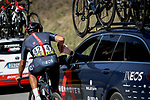 Andrey Amador Bikkazakova (CRC) Ineos Grenadiers back at the team car during Stage 7 of Paris-Nice 2021, running 119.2km from Le Broc to Valdeblore La Colmiane, France. 13th March 2021.<br /> Picture: ASO/Fabien Boukla | Cyclefile<br /> <br /> All photos usage must carry mandatory copyright credit (© Cyclefile | ASO/Fabien Boukla)
