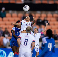 HOUSTON, TX - JANUARY 28: Lynn Williams #13 of the United States heads the ball during a game between Haiti and USWNT at BBVA Stadium on January 28, 2020 in Houston, Texas.