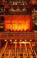 Continuous casting of steel bars
