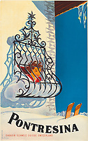 BNPS.co.uk (01202 558833)<br /> Pic: Lyon&Turnbull/BNPS<br /> <br /> Pictured: A vintage poster advertising Pontresina in Switzerland<br /> <br /> A stunning set of vintage ski posters depicting the halcyon days of European winter holidays has emerged for sale.<br /> <br /> They feature early lithograph prints of advertising posters for glamorous resorts including Champery and Gstaad.<br /> <br /> The earliest posters in the sale date from the turn of the 20th century, with the most recent examples from the 1960s.<br /> <br /> Seventy posters, which range in value from £300 to £9,000, are being sold by Lyon & Turnbull, of Edinburgh, in conjunction with poster specialists Tomkinson Churcher.<br /> <br /> As transport links improved in the 1920s and '30s, skiing holidays grew in popularity. To take advantage of this boom, prestigious resorts commissioned the finest graphic artists to create art deco style advertisements urging holiday-makers to visit.