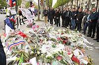 HOMMAGE A XAVIER JUGELE, POLICIER TUE LORS D'UNE FUSILLADE TERRORISTE SUR LES CHAMPS-ELYSEES - PARIS, FRANCE - 25/04/2017