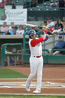 Stockton Ports left fielder J.P. Sportsman (3) at bat  during a game against the Visalia Rawhide at Banner Island Ballpark on August 15, 2015 in Stockton, California. Visalia defeated Stockton 9-1. (Robert Gurganus/Four Seam Images)