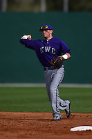 Kentucky Wesleyan Panthers shortstop Josh Vance (2) during a game against Slippery Rock University on March 9, 2015 at Jack Russell Stadium in Clearwater, Florida.  Kentucky Wesleyan defeated Slippery Rock 5-4.  (Mike Janes/Four Seam Images)