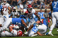 Arkansas running back Raheim Sanders (5) carries the ball, Saturday, October 9, 2021 during the first quarter of a football game at Vaught Hemingway Stadium in Oxford, Miss. Check out nwaonline.com/211010Daily/ for today's photo gallery. <br /> (NWA Democrat-Gazette/Charlie Kaijo)