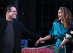 """Michael Mayer and Keri Russell during the Broadway Opening Night Curtain Call for Landford Wilson's """"Burn This""""  at Hudson Theatre on April 15, 2019 in New York City."""