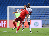 6th August 2020, Basel, Switzerland. UEFA National League football, Switzerland versus Germany; Antonio Ruediger ger challenges Haris Seferovic sui