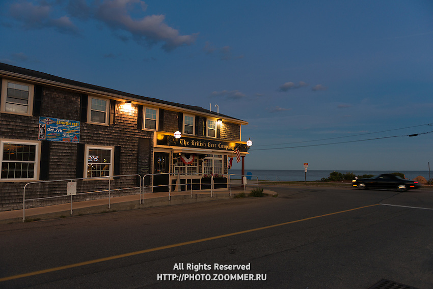 British Beer Company Pub on Falmouth Heights beach at dusk, Cape Cod