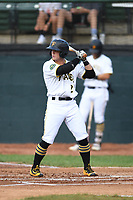 Bristol Pirates Matt Morrow (2) bats during the game with the Burlington Royals at Boyce Cox Field on June 19, 2019 in Bristol, Virginia. The Royals defeated the Pirates 1-0. (Tracy Proffitt/Four Seam Images)