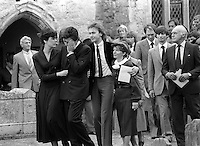 Pix: Copyright Anglia Press Agency/Archived via SWpix.com. The Bamber Killings. August 1985. Murders of Neville and June Bamber, daughter Sheila Caffell and her twin boys. Jeremy Bamber convicted of killings serving life...copyright photograph>>Anglia Press Agency>>07811 267 706>>..Jeremy Bamber is comforted by his girlfriend Julie Mugford at the funeral of his family, alongside Colin Caffell, father and husband of victims. no date..ref 0006 neg 15.