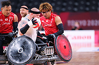 26th August 2021; Tokyo, Japan; Daisuke Ikezaki (JPN),  WheelChair Rugby : Pool Phase Group A match <br /> between Japan 60-51 Denmark <br /> during the Tokyo 2020 Paralympic Games at the Yoyogi National Gymnasium in Tokyo, Japan.