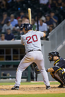 Ryan Lavarnway (20) of the Pawtucket Red Sox at bat against the Charlotte Knights at BB&T Ballpark on August 9, 2014 in Charlotte, North Carolina.  The Red Sox defeated the Knights  5-2.  (Brian Westerholt/Four Seam Images)