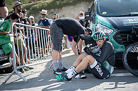 final finisher up the Tourmalet (HC/2115m/19km @7.4%) was Marcus Burghardt (DEU/BORA-hansgrohe); he finished 30 minutes behind race winner Pinaut in this (very) short stage<br /> <br /> Stage 14: Tarbes to Tourmalet(117km)<br /> 106th Tour de France 2019 (2.UWT)<br /> <br /> ©kramon