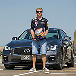 Infiniti Red Bull Racing driver Sebastian Vettel of Germany attends media event with Infiniti Q50 car at the Al Forsan Track in Abu Dhabi, UAE, on October 31, 2013. Photo by Victor Fraile / The Power of Sport Images