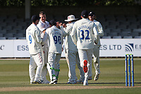 Brydon Carse of Durham (2nd L) celebrates with his team mates after taking the wicket of Tom Westley during Essex CCC vs Durham CCC, LV Insurance County Championship Group 1 Cricket at The Cloudfm County Ground on 16th April 2021