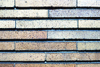 F.L. Wright: Martin House, Buffalo. 1903-05. Detail showing depth of horizontal grooves of grout. Vertical is flush.  Photo '88.