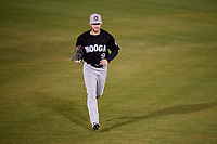 Chattanooga Lookouts center fielder Tanner English (9) jogs off the field during a game against the Mobile BayBears on May 5, 2018 at Hank Aaron Stadium in Mobile, Alabama.  Chattanooga defeated Mobile 11-5.  (Mike Janes/Four Seam Images)