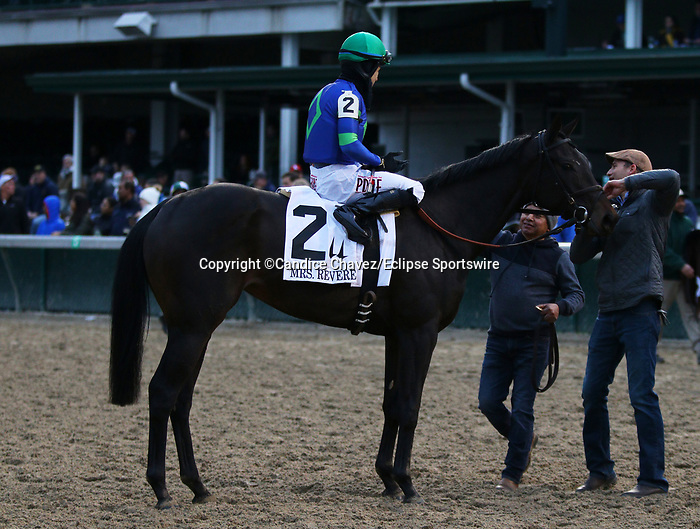 November 29, 2019 : #2 Nay Lady Nay (IRE) and jockey Junior Alavarado win the 29th running of The Mrs. Revere Grade 2 $300,000 for owner First Row Partners and Hidden Brook Farm and trainer Chad Brown at Churchill Downs in Louisville, KY on November 29, 2019.  Candice Chavez/ESW/CSM