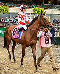 OCT 03, 2021: GERRYMANDER post parade in  Gr.1  Frizette Stakes, for 2 year old fillies, at Belmont Park, Elmont, NY.  Sue Kawczynski/Eclipse Sportswire/CSM