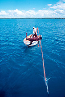 aboriginee harpoons dugong, legally under traditional hunting rights, Torres Straits, Australia