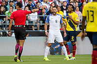 Seattle, WA - Thursday, June 16, 2016: United States forward Clint Dempsey (8) reacts to the referee during a Quarterfinal match of the 2016 Copa America Centenrio at CenturyLink Field.