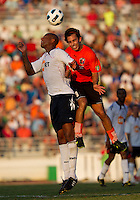 Diego Martins (CE) contests a header against Zat Knight (BW).  The Charlotte Eagles currently in 3rd place in the USL second division played a friendly against the Bolton Wanderers from the English Premier League losing 3-0.