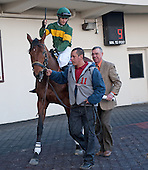 Trainer Ham Smith gives jockey David Cohen a leg up on Done Talking before the Gotham Stakes at Aqueduct on March 3.