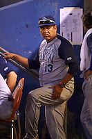 Brooklyn Cyclones coach Edgardo Alfonzo (13) during the first game of a doubleheader against the Connecticut Tigers on September 2, 2015 at Senator Thomas J. Dodd Memorial Stadium in Norwich, Connecticut.  Brooklyn defeated Connecticut 7-1.  (Mike Janes/Four Seam Images)